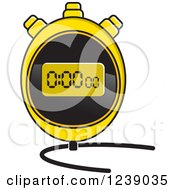 Clipart Of A Yellow Digital Stopwatch Royalty Free Vector Illustration