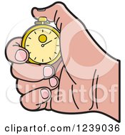 Clipart Of A Caucasian Hand Holding A Gold Stopwatch Royalty Free Vector Illustration