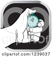 Clipart Of A Black And White Hand Holding A Turquoise Stopwatch Icon Royalty Free Vector Illustration