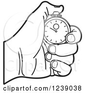 Clipart Of A Black And White Hand Holding A Stopwatch Royalty Free Vector Illustration