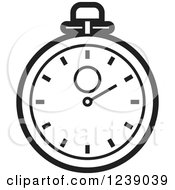 Clipart Of A Black And White Stopwatch Royalty Free Vector Illustration by Lal Perera