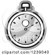 Clipart Of A Silver Stopwatch Royalty Free Vector Illustration