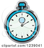 Clipart Of A Blue And Silver Stopwatch Royalty Free Vector Illustration