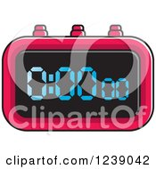 Clipart Of A Red Digital Stopwatch Royalty Free Vector Illustration