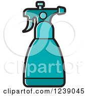 Clipart Of A Turquoise Spray Bottle Royalty Free Vector Illustration