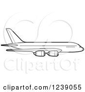 Clipart Of A Black And White Commercial Airliner Plane 2 Royalty Free Vector Illustration by Lal Perera