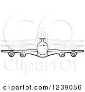 Clipart Of A Black And White Commercial Airliner Plane With Movement Trails Royalty Free Vector Illustration by Lal Perera