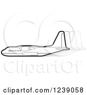 Clipart Of A Black And White Commercial Airliner Plane With Movement Trails 3 Royalty Free Vector Illustration by Lal Perera