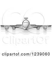 Clipart Of A Silver Commercial Airliner Plane Royalty Free Vector Illustration by Lal Perera