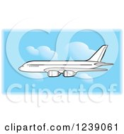 Clipart Of A Black And White Commercial Airliner Plane In A Blue Sky Royalty Free Vector Illustration by Lal Perera