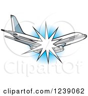 Clipart Of A Breaking Commercial Airliner Plane Royalty Free Vector Illustration by Lal Perera