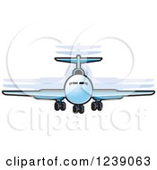 Clipart Of A Blue Commercial Airliner Plane Royalty Free Vector Illustration by Lal Perera
