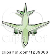 Clipart Of A Green Commercial Airliner Plane Royalty Free Vector Illustration by Lal Perera