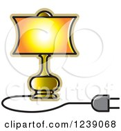 Clipart Of A Gold Electric Lamp With A Shade 3 Royalty Free Vector Illustration