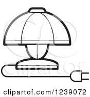 Clipart Of A Black And White Electric Lamp With A Shade Royalty Free Vector Illustration
