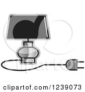 Clipart Of A Black And Silver Electric Lamp With A Shade Royalty Free Vector Illustration
