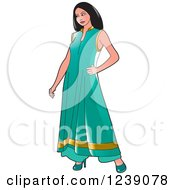 Clipart Of A Woman Modeling A Turquoise And Gold Frock Dress Royalty Free Vector Illustration