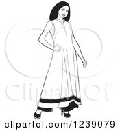 Clipart Of A Woman Modeling A Black And White Frock Dress Royalty Free Vector Illustration