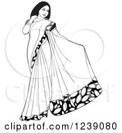 Clipart Of A Black And White Beautiful Indian Woman Modeling A Saree Dress Royalty Free Vector Illustration