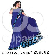 Clipart Of A Beautiful Indian Woman Modeling A Blue Saree Dress Royalty Free Vector Illustration