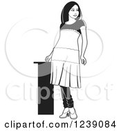 Clipart Of A Black And White Woman Modeling A Frock Dress Royalty Free Vector Illustration