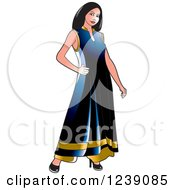 Clipart Of A Woman Modeling A Blue And Gold Frock Dress Royalty Free Vector Illustration by Lal Perera