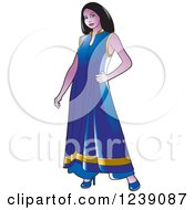 Clipart Of A Woman Modeling A Purple And Gold Frock Dress Royalty Free Vector Illustration