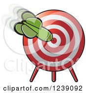 Clipart Of A Green Dart In A Target Royalty Free Vector Illustration by Lal Perera