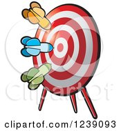 Clipart Of Darts On A Target Royalty Free Vector Illustration by Lal Perera