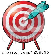 Clipart Of A Turquoise Dart In A Target Royalty Free Vector Illustration by Lal Perera