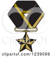 Clipart Of A Gold Star Medal On A Ribbon 4 Royalty Free Vector Illustration by Lal Perera