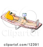 Relaxed Woman In A Bikini Sun Bathing On A Lounge Chair Clipart Picture by djart