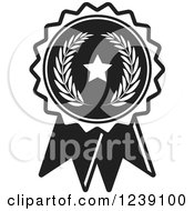 Clipart Of A Black And White Olive Branch And Star Medal Rosette Royalty Free Vector Illustration
