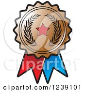 Clipart Of A Bronze Olive Branch And Star Medal Rosette Royalty Free Vector Illustration