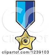 Clipart Of A Gold Star Medal On A Ribbon Royalty Free Vector Illustration by Lal Perera