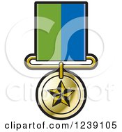 Clipart Of A Gold Star Medal On A Ribbon 2 Royalty Free Vector Illustration by Lal Perera