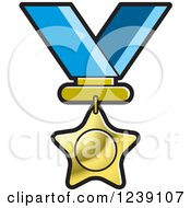 Clipart Of A Gold Star Medal On A Ribbon 3 Royalty Free Vector Illustration by Lal Perera
