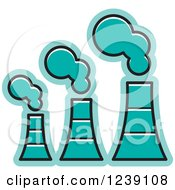 Clipart Of A Turquoise Factory Royalty Free Vector Illustration by Lal Perera