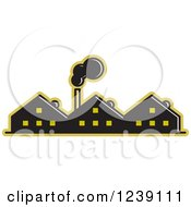 Clipart Of A Black And Yellow Factory Royalty Free Vector Illustration by Lal Perera