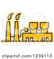 Clipart Of A Yellow Factory 2 Royalty Free Vector Illustration by Lal Perera