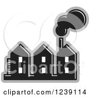 Clipart Of A Black And Gray Factory 2 Royalty Free Vector Illustration by Lal Perera