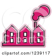 Clipart Of A Pink Factory Royalty Free Vector Illustration by Lal Perera