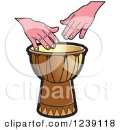 Clipart Of A Drum And Hands 3 Royalty Free Vector Illustration