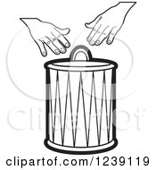 Clipart Of A Black And White Drum And Hands 2 Royalty Free Vector Illustration