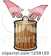 Clipart Of A Drum And Hands 2 Royalty Free Vector Illustration by Lal Perera