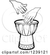 Clipart Of A Black And White Drum And Hands 3 Royalty Free Vector Illustration
