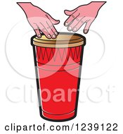 Clipart Of A Drum And Hands Royalty Free Vector Illustration by Lal Perera
