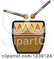Clipart Of A Drum And Sticks Royalty Free Vector Illustration by Lal Perera