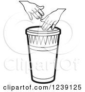 Clipart Of A Black And White Drum And Hands Royalty Free Vector Illustration by Lal Perera