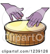 Clipart Of A Drum And Hands 4 Royalty Free Vector Illustration